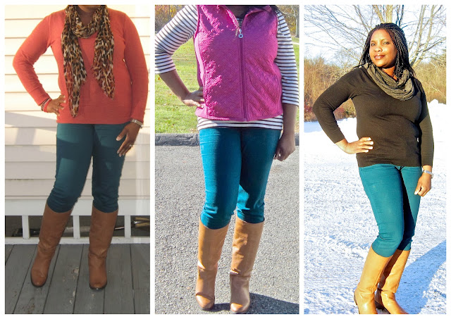 Rust and Teal, What to wear with Cognac Boots, How to wear a vest