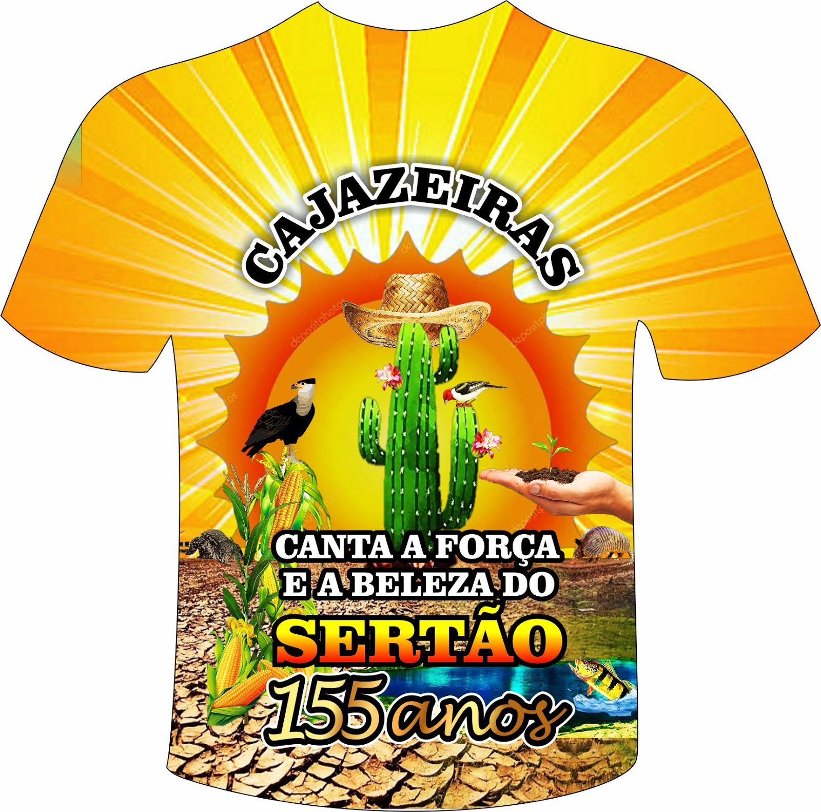CAMISA  E TEMA  DOS  155 ANOS DE  CAJAZEIRAS PARAIBA