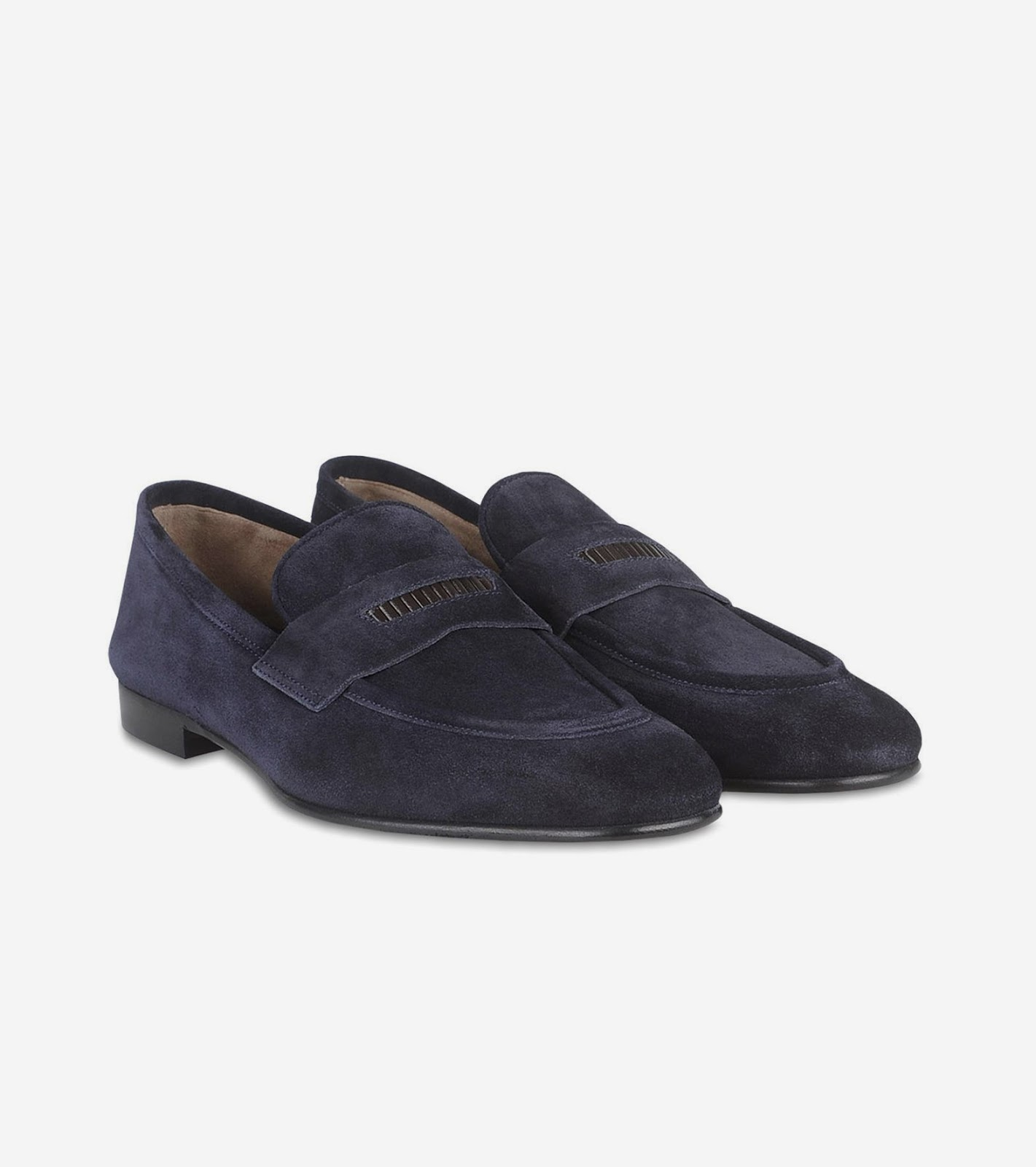 The perfect smart casual loafers in blue suede Heel height 0 8 inches leather