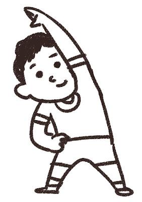 体育の体操のイラスト 白黒線画
