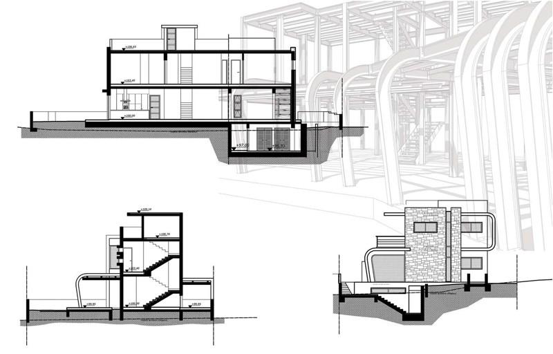 Casa moderna de estructura expuesta en chipre arquitexs for Arquitectura moderna planos