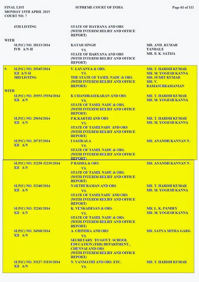 ஆசிரியர் தகுதி தேர்வு தொடர்பான வழக்குகள் உச்ச நீதிமன்றத்தில் வருகிற 13.04.2015 அன்று கோர்ட் எண்.7 வழக்கு எண் 9 ஆவதாக விசாரணைக்கு வருகிறது..