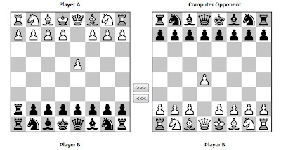 Chess board showing how to cheat.