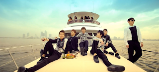 B.A.P One Shot members on a boat