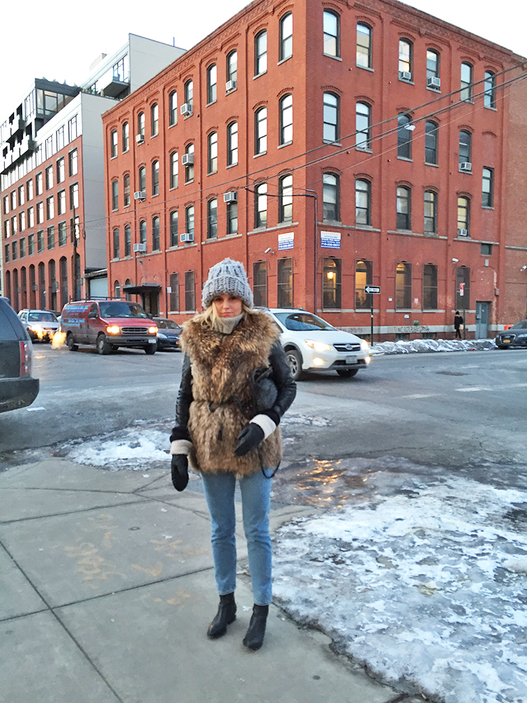 Fashion Over Reason in Brooklyn, Adrienne Landau fur vest, Bottega Veneta cross body bag, Monki jeans, Alexander Wang Anouk boots