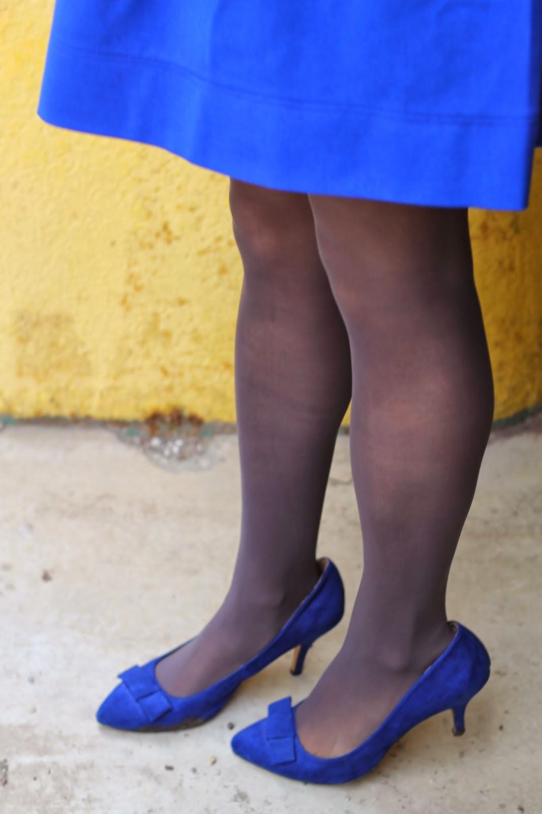 blue, bow, heels