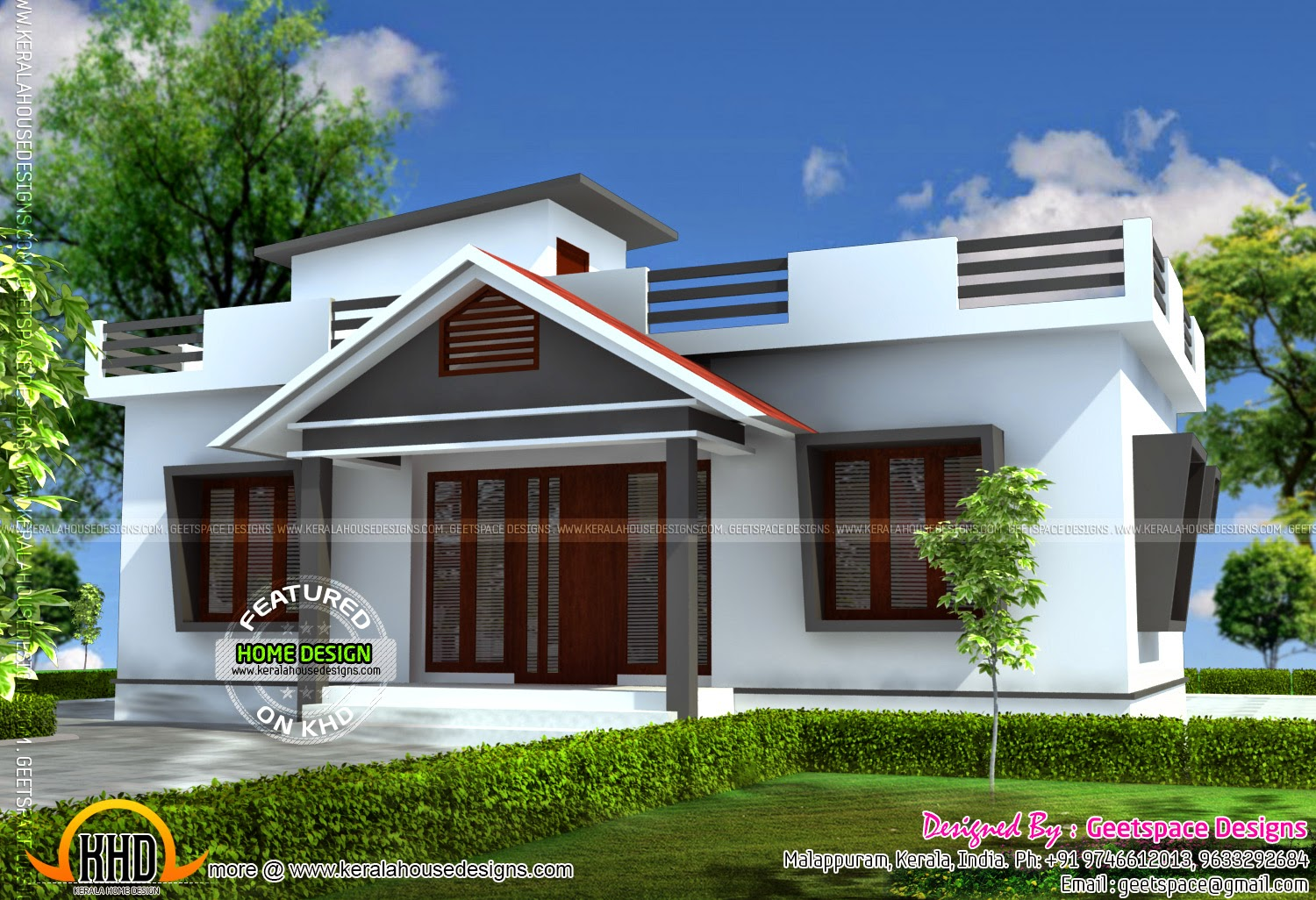 Small house in 903 square feet kerala home design and for Small house architecture