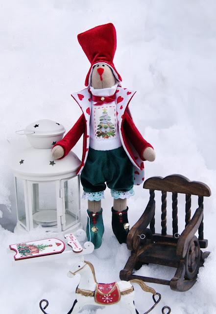рождественский заяц, игрушка заяц, игрушки ручной работы, рождество, заяц ручной работы, текстильный заяц