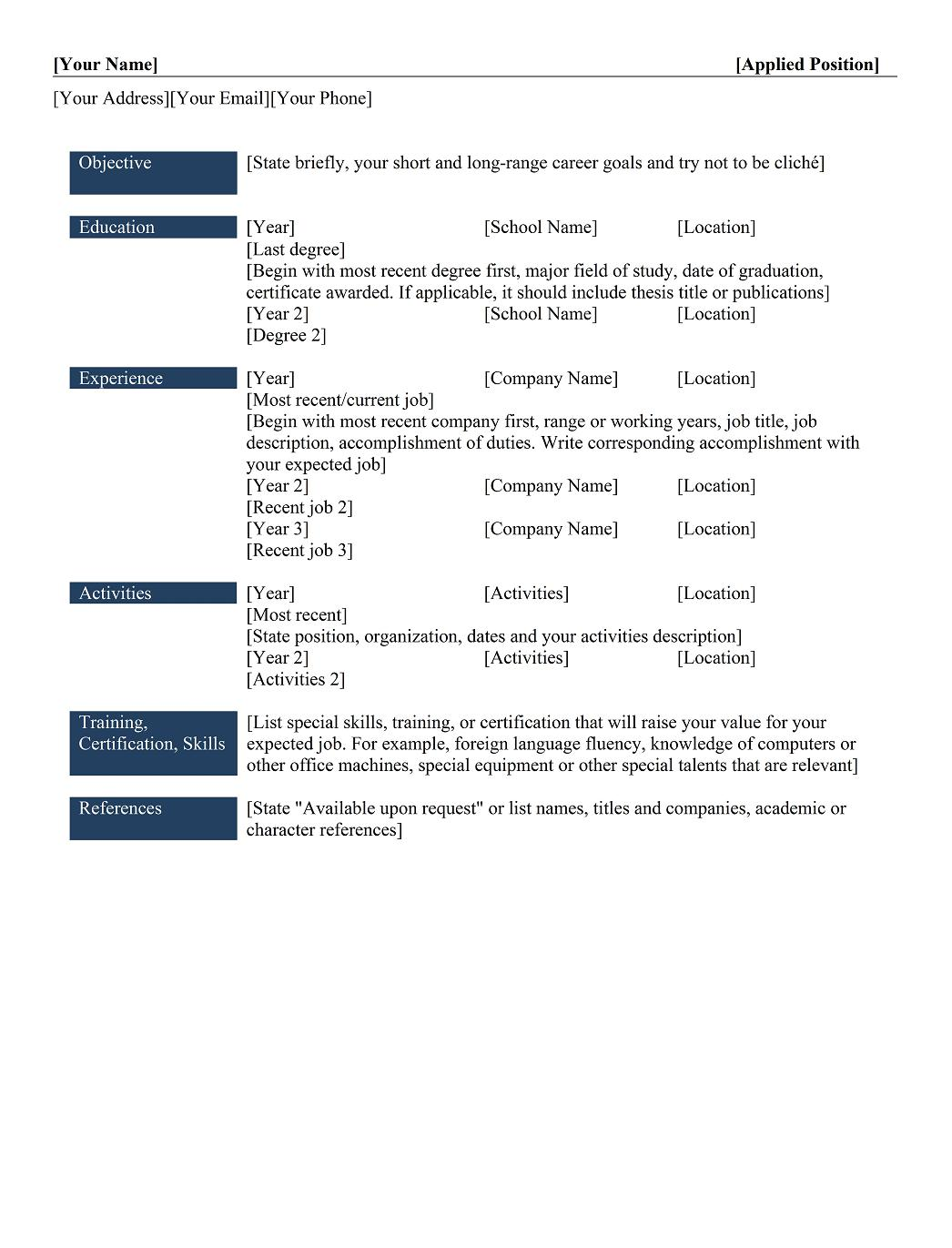 Chronological Resume Example  Chronological Resume Sample