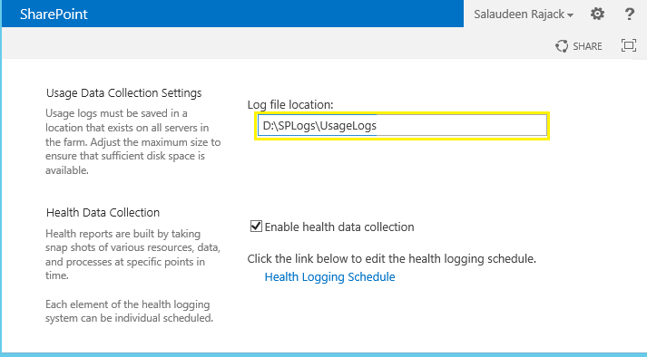 sharepoint 2013 usage and health logging