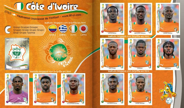Album CÔTE D´IVOIRE - COSTA DO MARFIM Fifa World Cup BRAZIL 2014 LIVE COPA DO MUNDO Sticker Figurinha Download Lealtudo