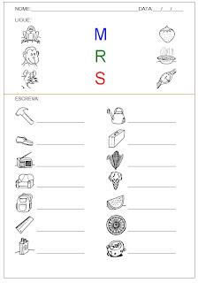 Hipótese de escrita pré-silábica - Ligue a figura com a letra inicial e escreva o nome dela.