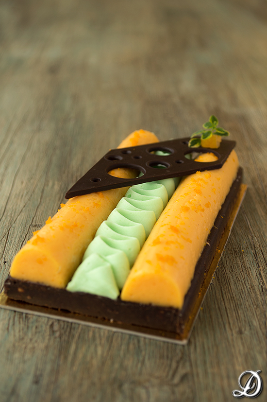 Crema de Mandarina, Anís, Chocolate blanco y Wasabi