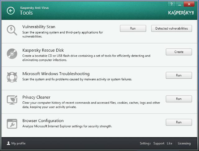 Kaspersky Antivirus 2014 - Tools