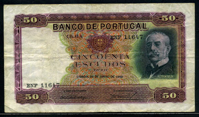 Portuguese money currency 50 Escudos banknote