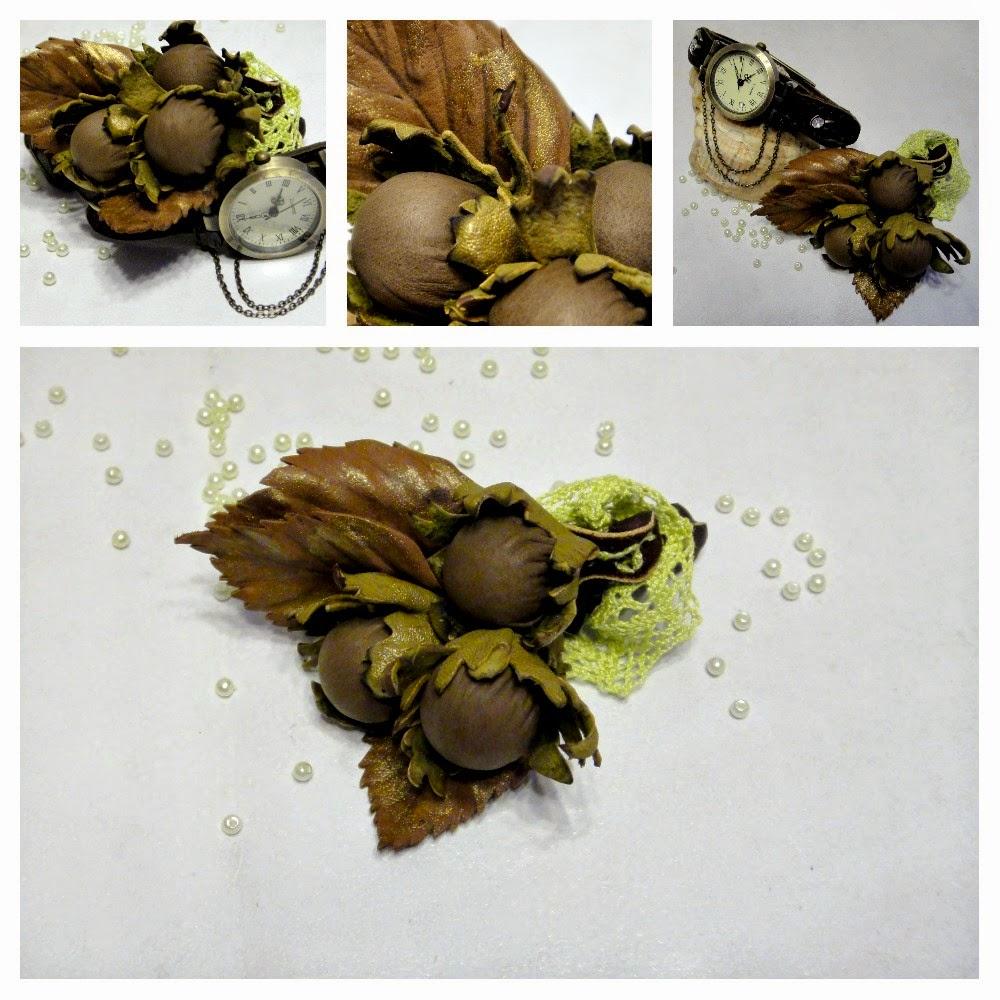 Часики наручные в ретро стиле и кожаная брошка Орешки - комплект женских украшений
