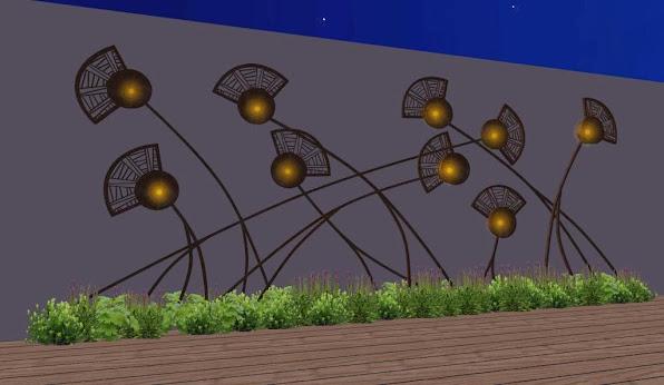 adornos en hierro para jardines - diseño jardines de lujo - campo de amapolas luces 1
