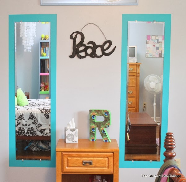 Painting frames around mirrors -- take plain build grade frameless mirrors and add flair for just the cost of paint.  Come see how!