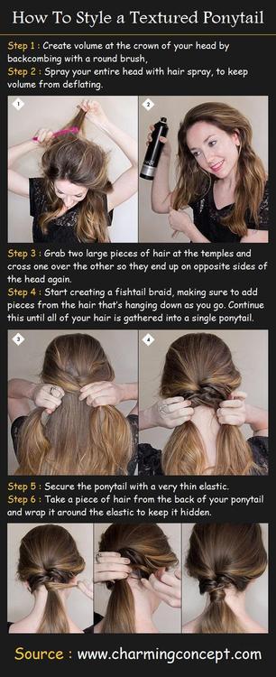 Acconciatura capelli lunghi coda particolare