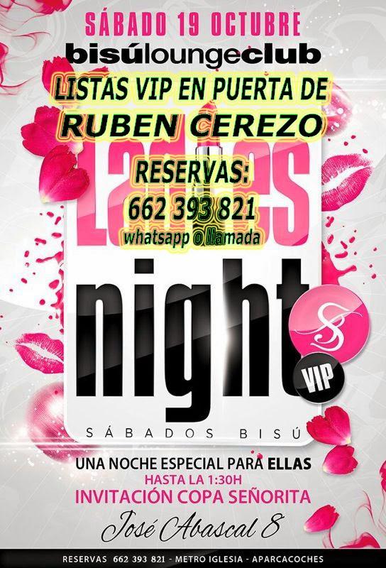 BISÚ SÁBADO, 19 DE OCTUBRE: LADIES NIGHT
