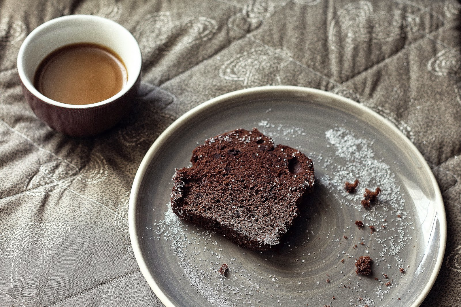 chocolate cake and cup of coffee