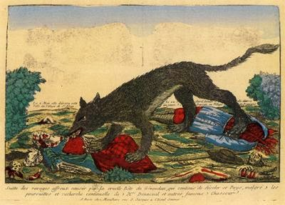 contemporary illustration of beast eating victim