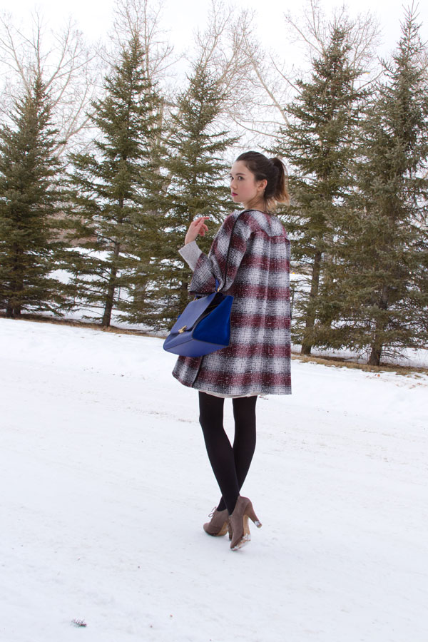 winter fashion, calgary fashion, trapeze coat, celine trapeze, frilled skirt,