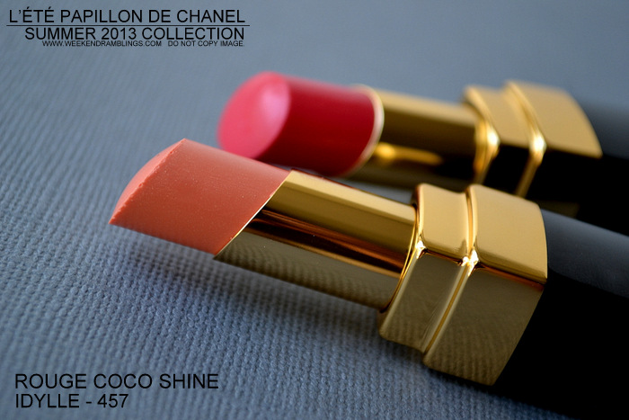 Chanel Summer 2013 Makeup Collection LEte Papillon de Chanel Rouge Coco Shine Lipstick Idylle 457 Photos Swatches Indian Makeup Beauty Blog Darker Skin