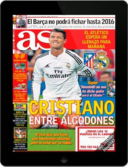 Diario AS España (21 Agosto 2014) ESPAÑOL - Cristiano entre algodones, el club dice que tiene una sobrecarga muscular pero se teme por su rodilla