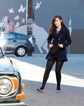 "Jess's J. Crew Majesty Pea Coat and Plum Ballet Flats New Girl Season 2, Episode 17: ""Parking Spot"""