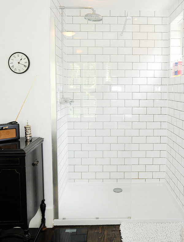 Dark grout bathroom floor : Bathroom dark shower grout b a s