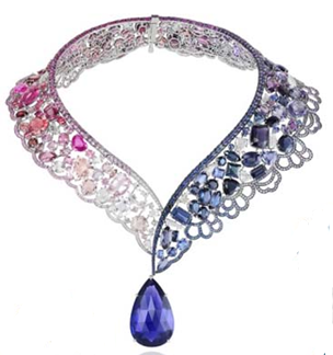 chopard necklace with pink, white and blue stones from beauty and the beast