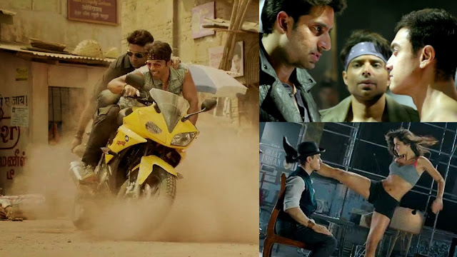 Actors Aamir Khan, Katrina Kaif, Abhishek Bachchan, Uday Chopra in Dhoom 3 movie stills