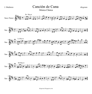 Nana y Canción de Cuna Partitura para Saxofón Tenor y Saxo Soprano para tocar junto al vídeo a modo de Karaoke. Tenor Saxophone and Soprano Sax Easy Sheet Music Baby Lullaby by Brahms