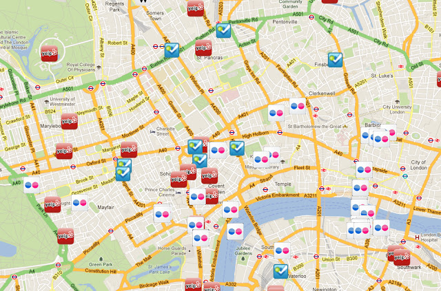 Social Media map of London at same time showing lots of static and Fourquare Trending