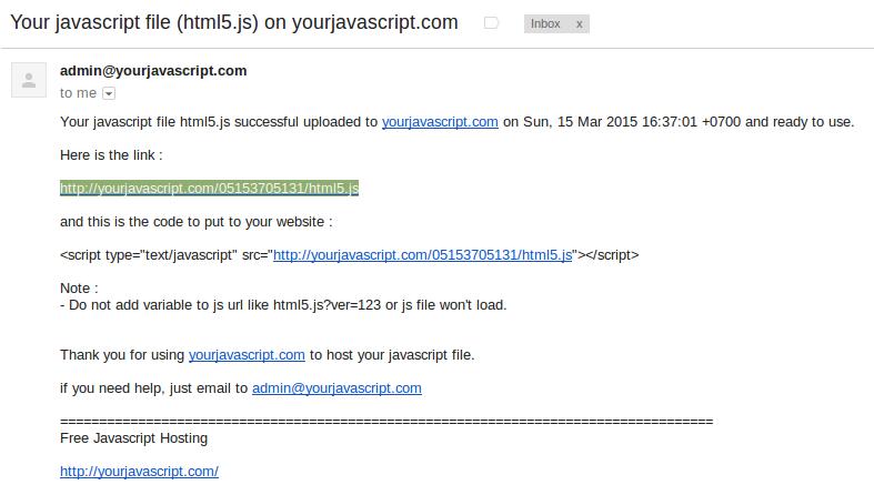 Email dari pihak yourjavascript.com