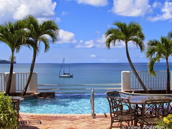 Ocean view from Windjammer Landing resort in St. Lucia.