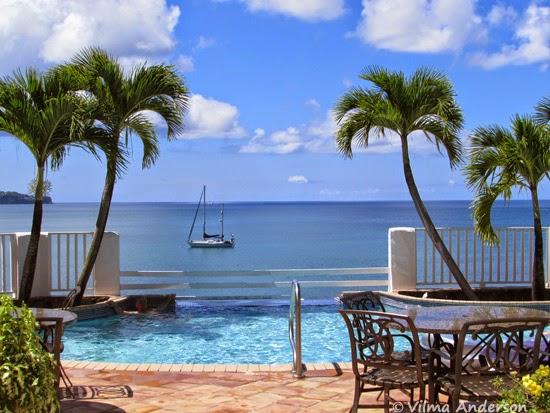 Ocean view from Windjammer Landing resort in St. Lucia.