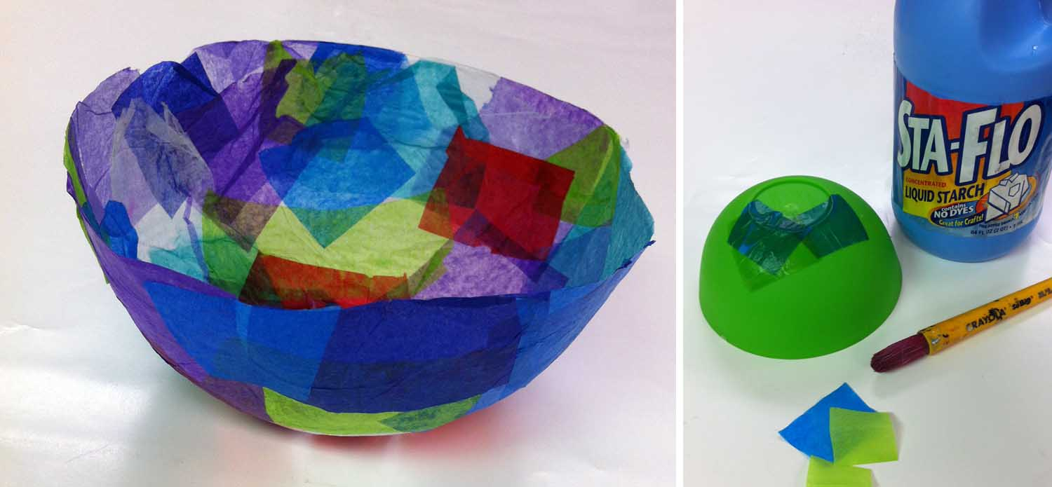Tissue paper bowls art projects for kids for Paper art projects