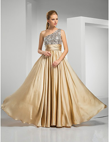 Vestido de Noche Dorado de Gasa y Satén