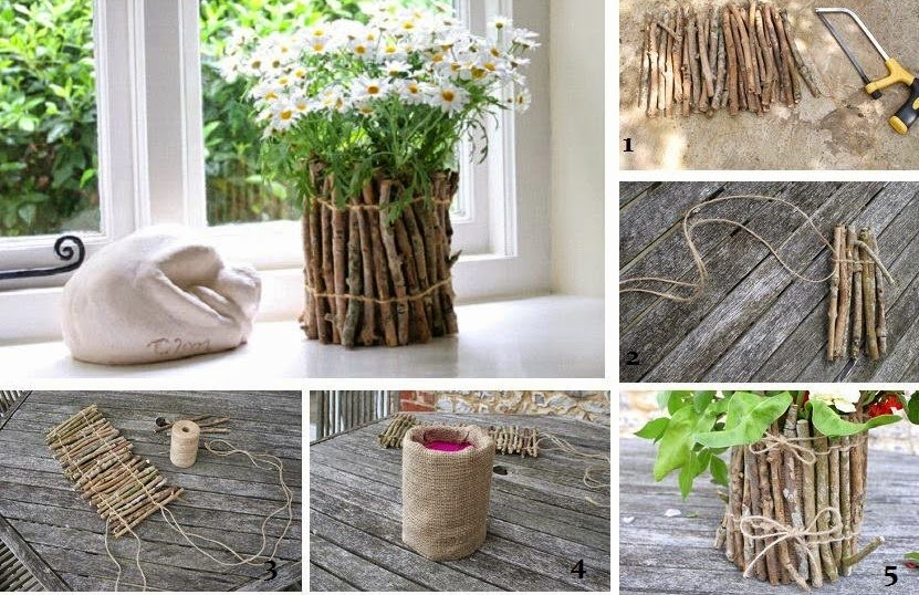 decorative flower pot made from tree sticks low cost creative idea for home decoration