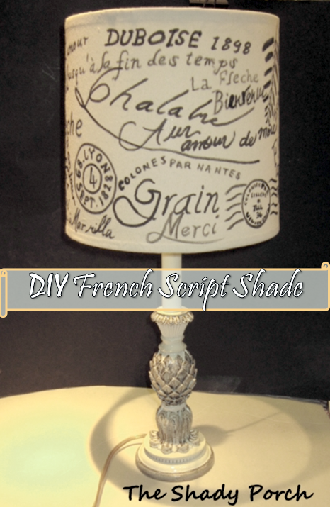 DIY French Script Lamp Shade #craft #DIY #copycat #decor