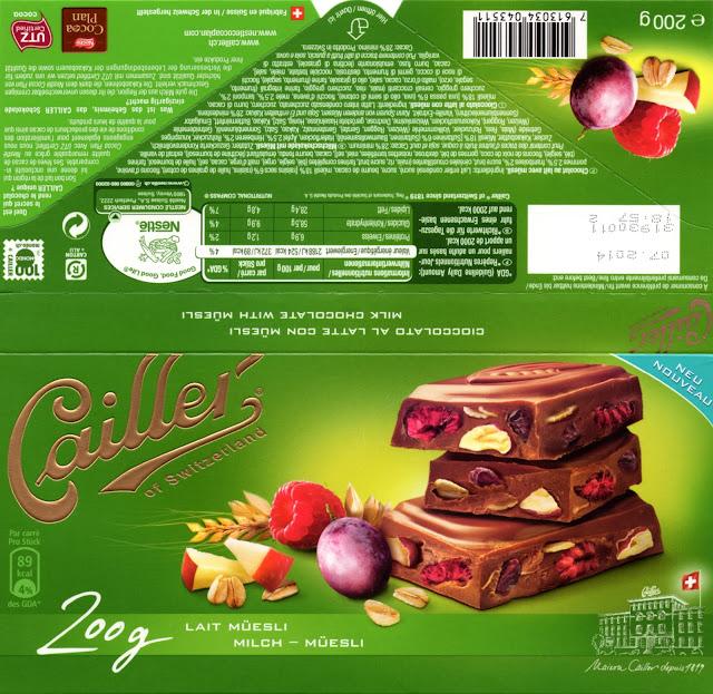 tablette de chocolat lait gourmand cailler lait muesli