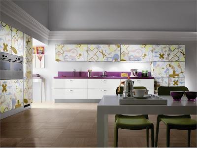 Фотопечать на кухонном гарнитуре модель Crystal Texture от фабрики Scavolini, дизайн Rashid Karim.