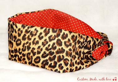 leopard and red polka dot reversible bandana