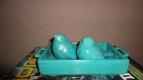 Pássaros em cerâmica turquesa