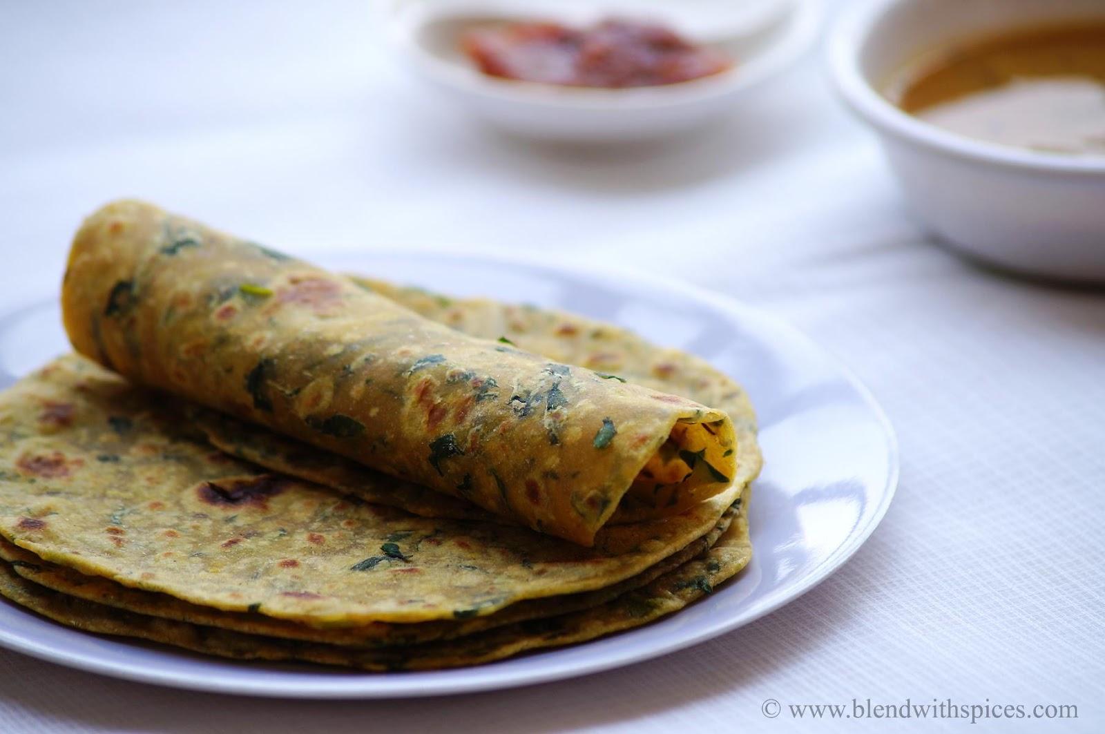 Methi Paratha Recipe - How to make Methi Paratha - Fenugreek Paratha - Step by Step Recipe