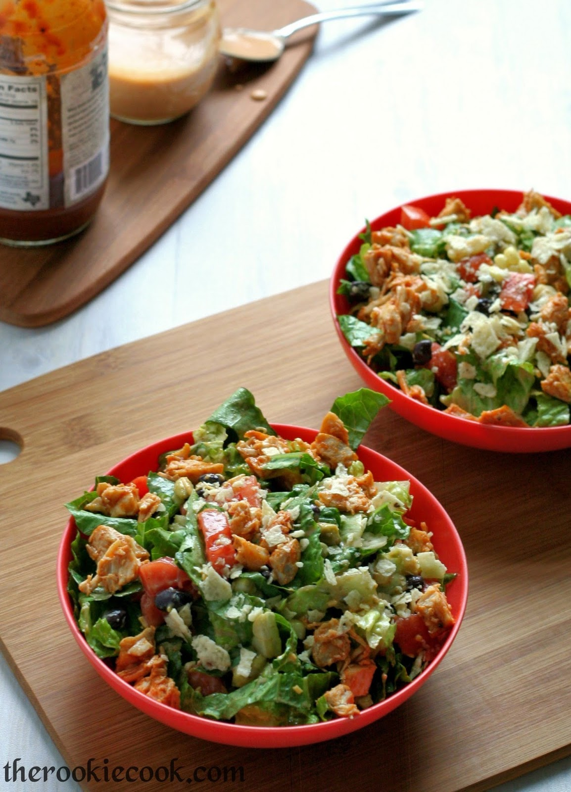 Chopped Chicken BBQ Salad ~ The Rookie Cook