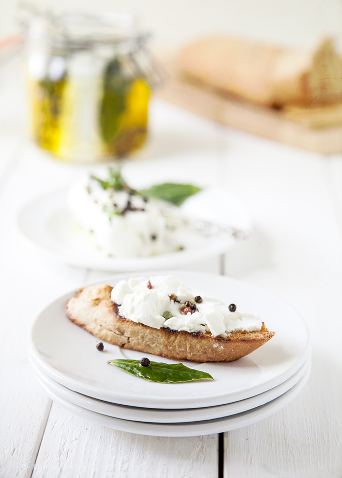 ... of Crusty Wheat Bread Slathered with Creamy Marinated Goat Cheese