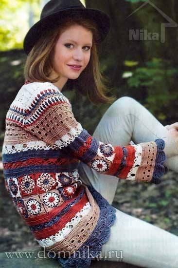 crochet granny squer sweater